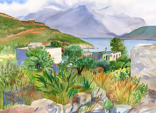 Original Painting | Greece | Kalymnos | View from Steps in Emborios