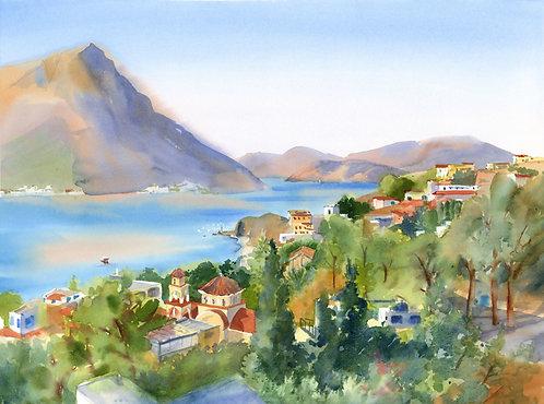 Original Painting | Greece | Kalymnos | View over Myrties from Telendo
