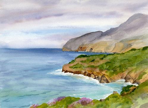 Original Painting   Greece   Kalymnos   Ambeli Coast