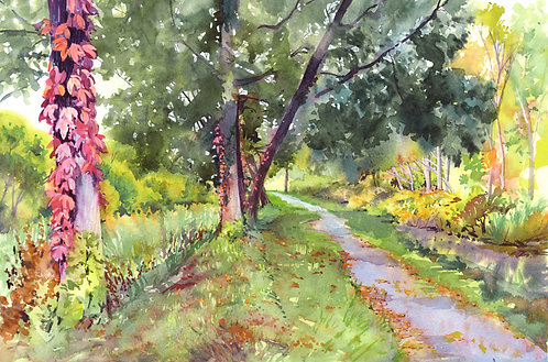 Original Painting | Path Along Pool's Brook, Fayetteville