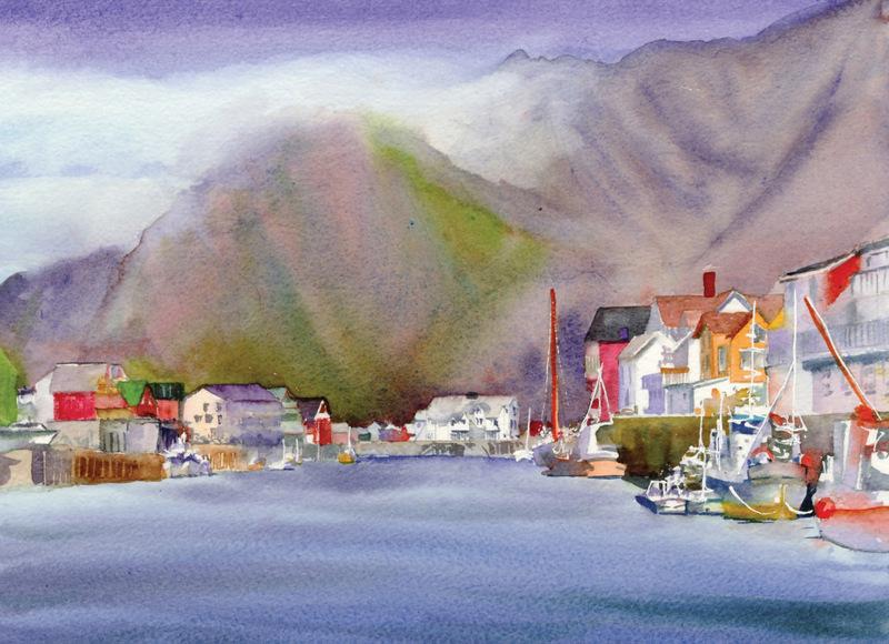 Norway Cards Henningsvaer Harbor