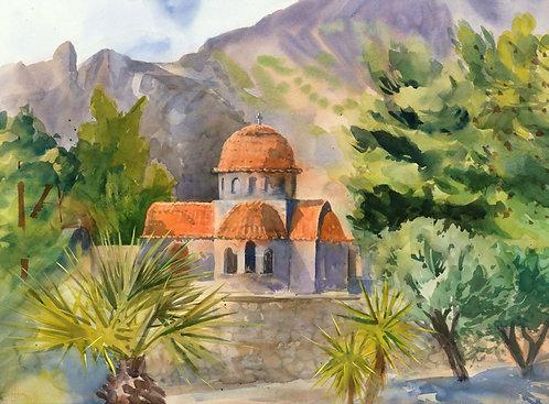 Original Painting | Greece | Kalymnos | Agios Pandelimonas