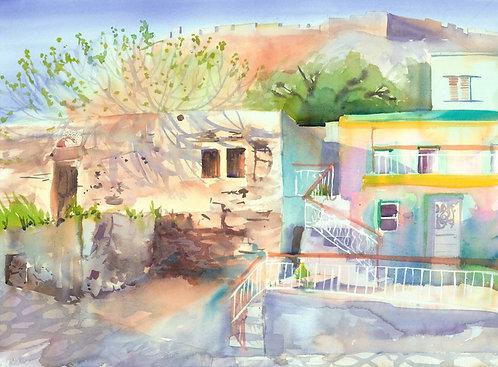 Original Painting | Greece | Kalymnos | Pink House Below Castra