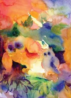 Watercolors Cards Owl