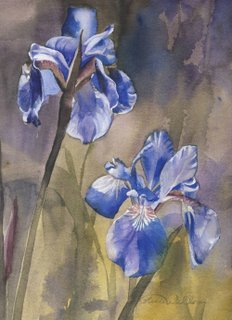 Watercolors of Flowers Cards Siberian Iris