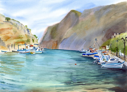 Original Painting | Greece | Kalymnos | Rina/Vathy