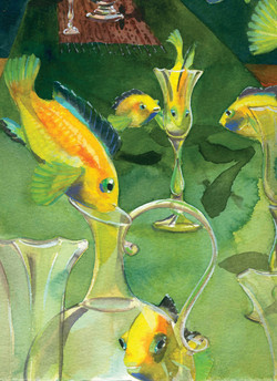 Tropical Fish  Cards Silent Bobette Drinking