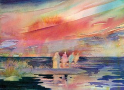 Watercolors Cards Sunset