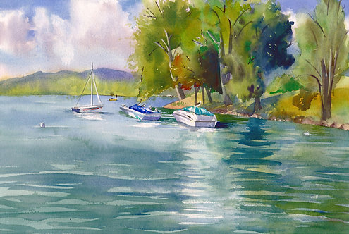 Original Painting | Skaneateles View from the Docks
