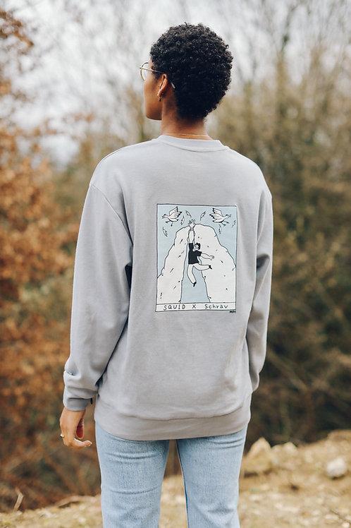 Crewneck Sweater - HEKY LEE X SCHRAV - Blue/Grey