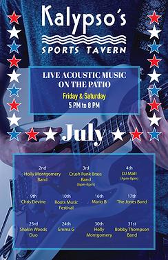 Kalypsos live music July flyer 2021 11x1