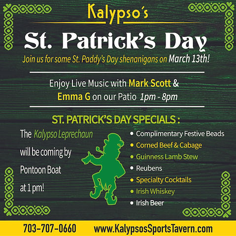 Kalypsos St Patricks Day 2021 ad instagr