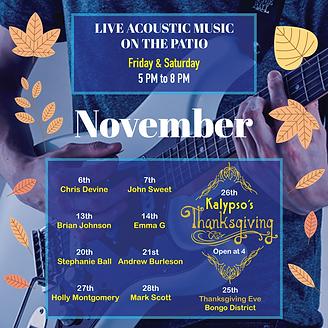 Kalypsos live music November 2020 ad ins