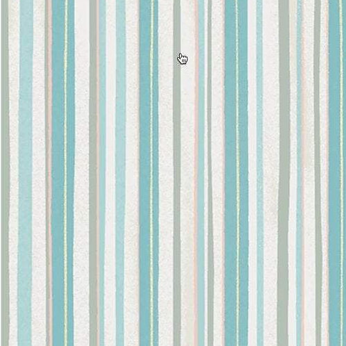 Winter Woodland Light Teal Stripes by Diane Neukirch for Clothworks