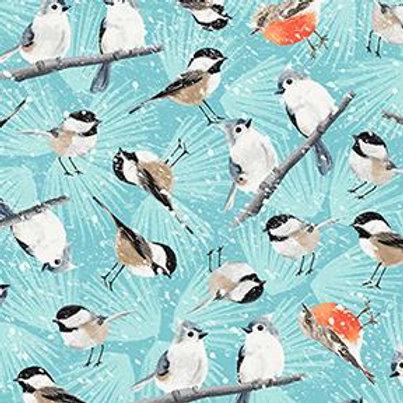 Winter Woodland light blue Birdies in Snow by Diane Neukirch for Clothworks