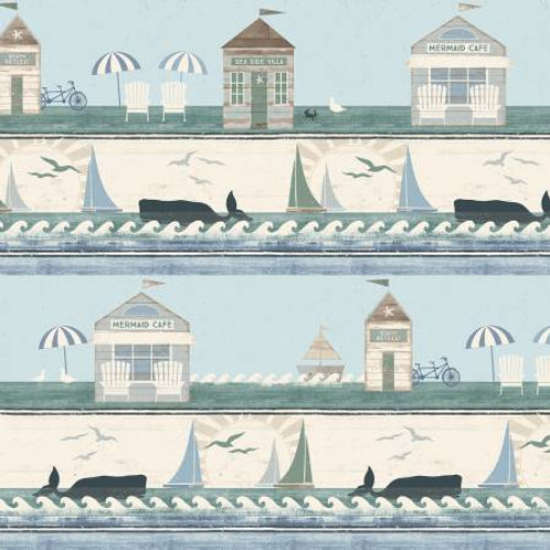 Beach House Light Teal Borders by Dan DiPaolo