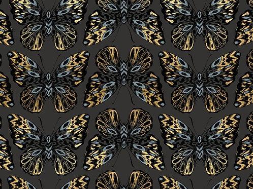 Clearance Fabric Tiger Fly Mocha Blue