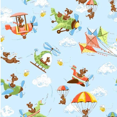 SusyBee Zig Flying Ace Light Blue Flying Dogs Variety by the yard