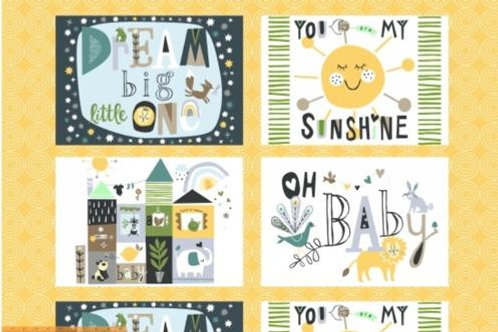 Dream Little One Fabric Panel - small by Jill McDonald for