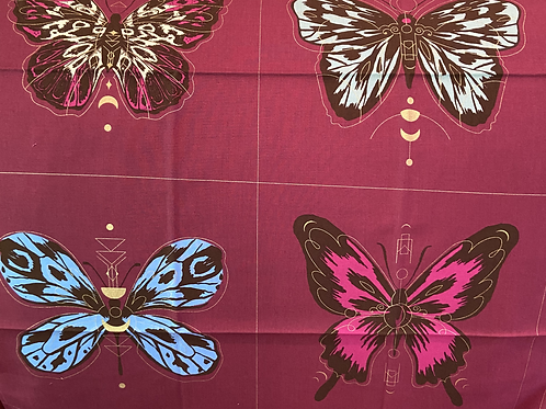 Clearance Fabric Panel Butterfly Maroon