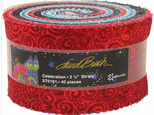 LB Celebration 2 1/2 inch Precut strip by Laurel Burch brought to you by Clothwo