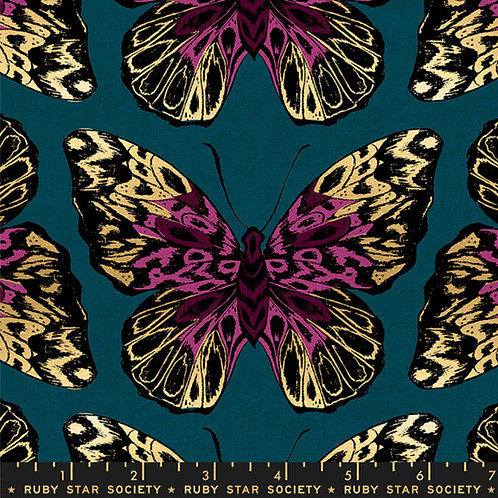 Clearance Fabric Tiger Fly Teal Canvas