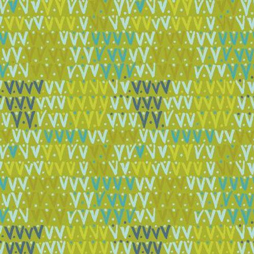 Spring Robins - Olive Geo Yardage by Clothworks