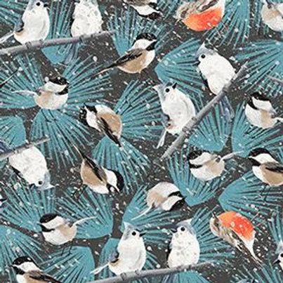 Winter Woodland Dark Brown Birdies in Snow by Diane Neukirch for Clothworks