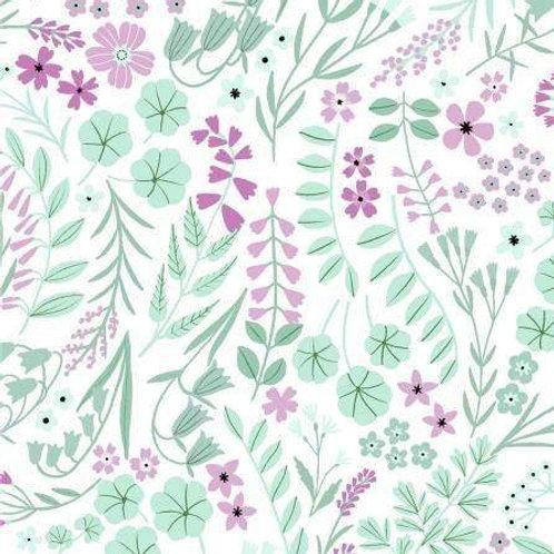Woodland Wander Forest Floor Yardage by Rebecca Jones - White