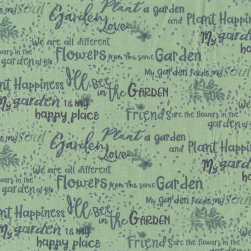 Garden Notes Words by Ellen Crimi Trent for Clothworks - Dark Mint