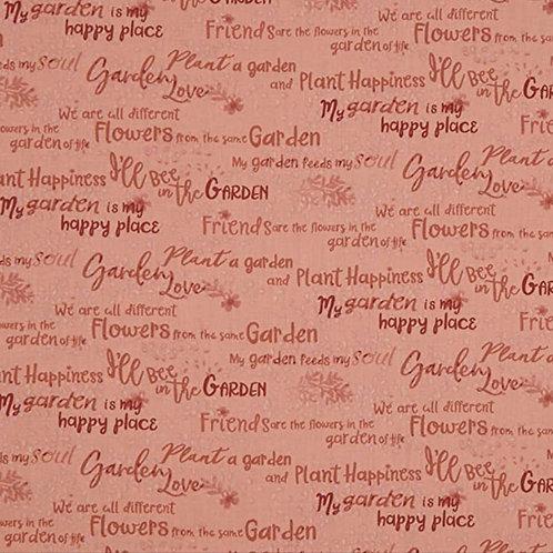 Garden Notes Words Dark Coral