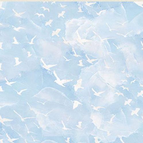 Swept Away Flying Gulls Blue by Deborah Edwards and Melanie Samra