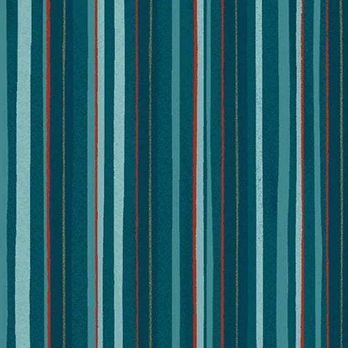 Winter Woodland Dark Teal Stripe By Diane Neukirch for Clothworks