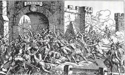 Gravure de la guerre des paysans à Saverne