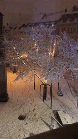 Sélestat sous la neige pendant la période des fêtes de fin d'année