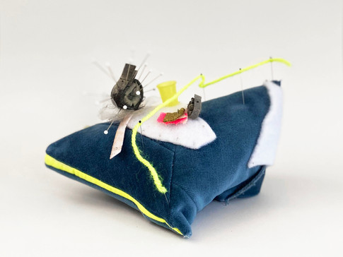 """Pincushion 3 (Neon Line), 2020 Velvet, thread, industrial felt, resin casted thimble, tulle, yarn, dressmaker pins, insect pins, upholstery pin, interfacing fabric, acrylic paint 5.25"""" x 8.25"""" x 5"""""""