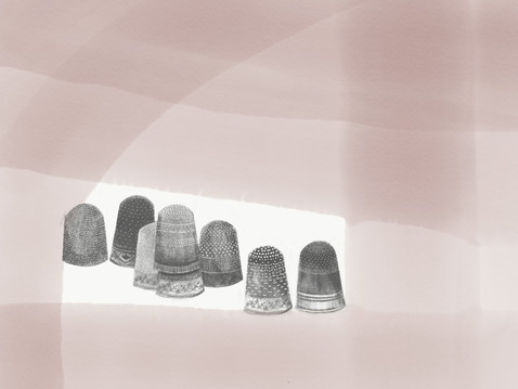 """In Line (Thimble Congregations), 2020 12"""" x 16"""" iPad Drawing Archival inkjet Print"""