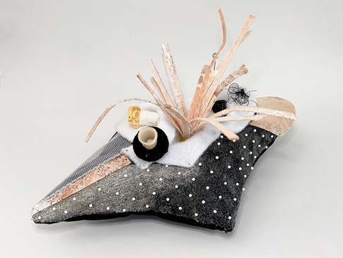 """Pincushion 4 (Polka dot) Velvet, thread, industrial felt, resin casted thimbles, dressmaker pins, insect pins, interfacing fabric, cymbal felt, acrylic paint, glass beads, mica, holographic prism film 8"""" x 14.5"""" x 9.5"""""""