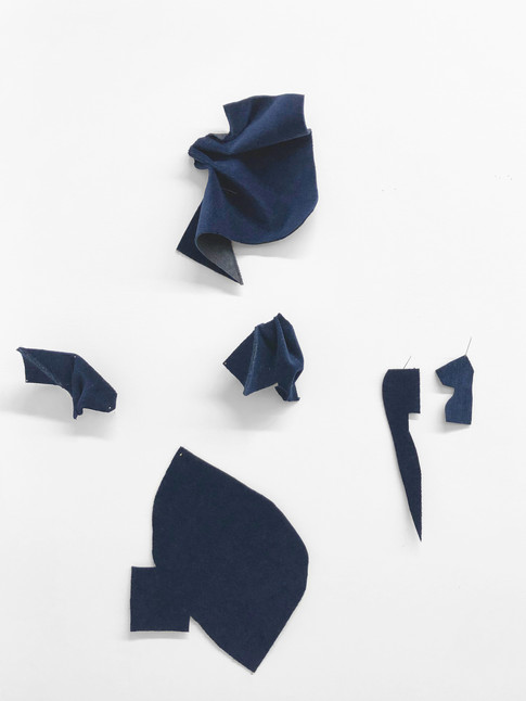 Fold / Flatten / Twist / Drape / Pin, 2019 Velvet, thread, seams and pins Dimensions Variable  This work is constantly growing