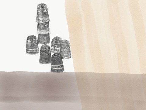 """Leaning Left (Thimble Congregations), 2020 12"""" x 16"""" iPad Drawing Archival inkjet Print"""