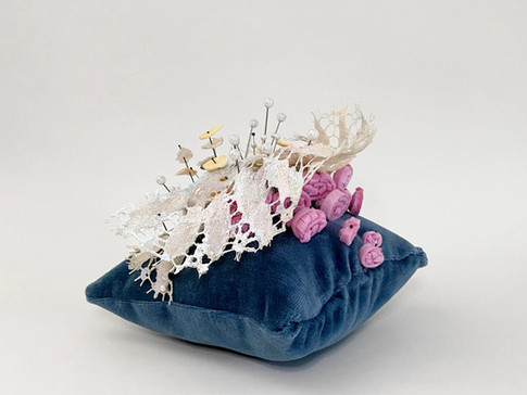 """Pincushion 2 (Lace), 2020 Velvet, thread, industrial felt, resin casted thimbles, lace, dressmaker pins, insect pins, interfacing fabric, acrylic paint, glass beads 5.5"""" x 7"""" x 6.25"""""""