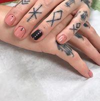 pink and black gel manicure vegan salon