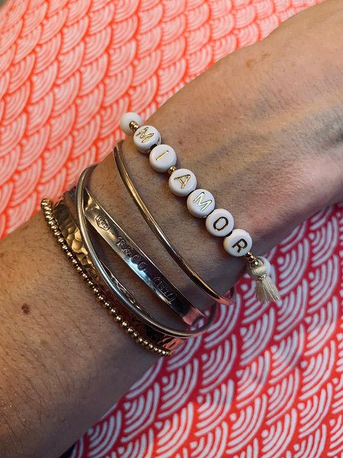 """Bracelet """"MESSAGE"""" plaqué or & pierre agate"""