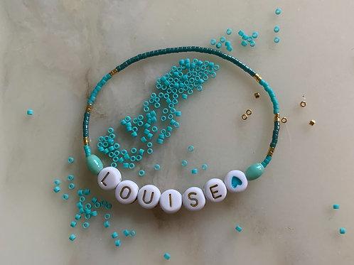 """Bracelet """"PRENOM"""" enfant plaqué or, turquoise & rocailles"""