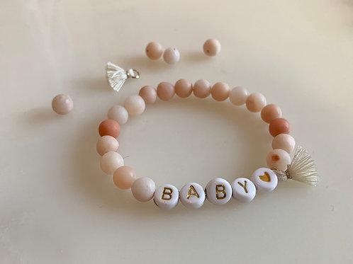 Bracelet PRENOM pierre agate rosée