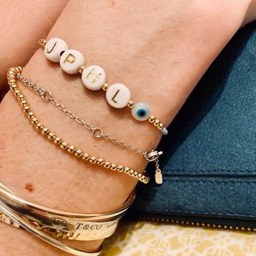 """Bracelet """"INITIALES"""" plaqué or & rocailles"""