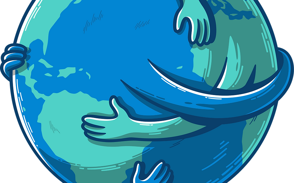 Arms Hugging the Globe. Unity in Humanity.