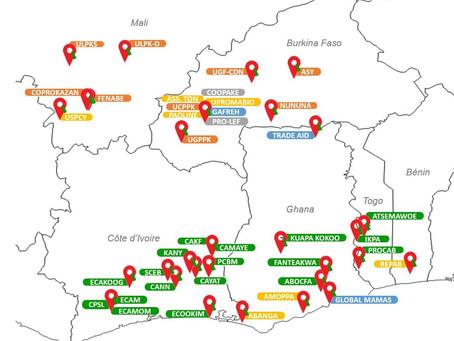 Découvrez la carte des organisations de producteurs·ice·s certifiées équitables sélectionnées