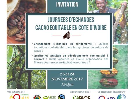 Atelier et journées d'échanges «cacao équitable & agroforesterie» du 20 au 24 novembre 2017 à