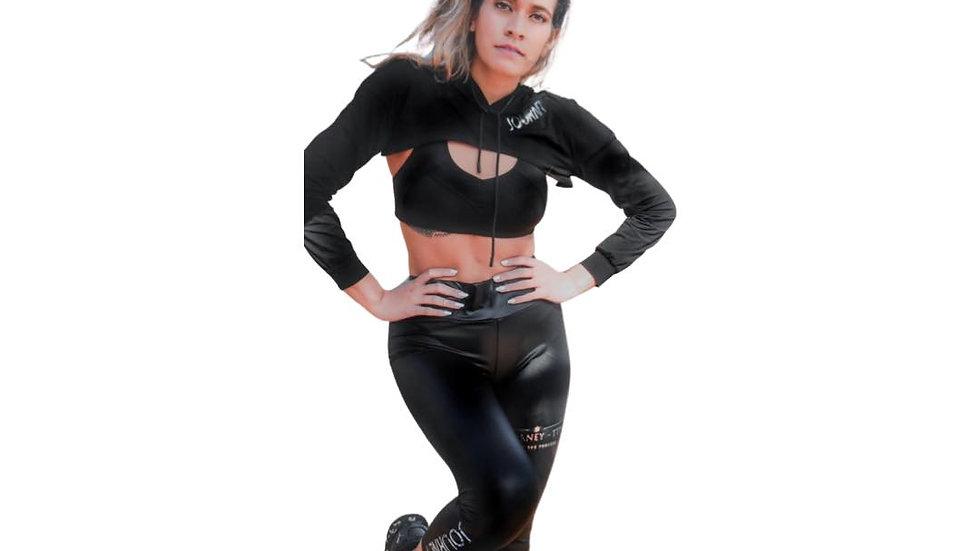 Black crop pullover and leggings set